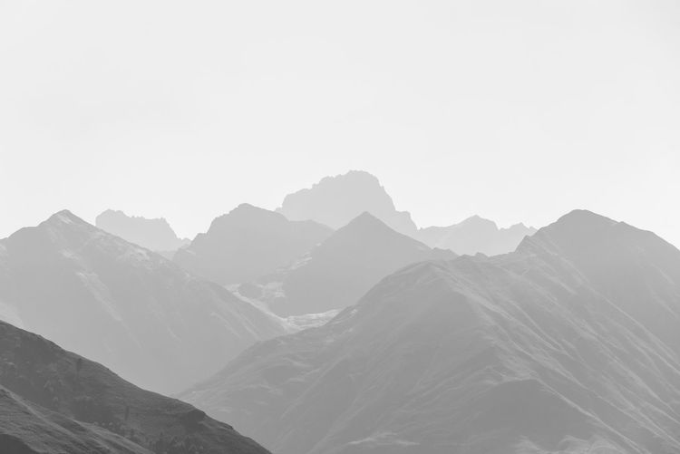 Caucasus Mountains, View from Kazbegi region. Kazbegi Mountains Beauty In Nature Clear Sky Cold Temperature Copy Space Day Idyllic Kazbegi Kazbek Landscape Landscape_photography Monochrome Mountain Mountain Range Nature No People Outdoors Physical Geography Scenics Sky Tranquil Scene Tranquility The Great Outdoors - 2018 EyeEm Awards