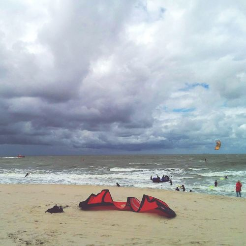 Cloudy kite surfing