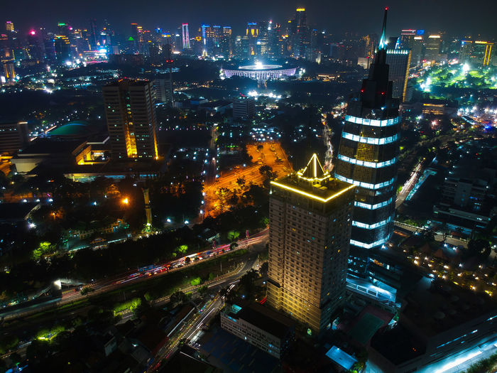 Menara Kompas dan Apartemen Permata Senayan Night View Nightshot Nightphotography Night View Aerial Photography Gramedia Kompas Palmerah Jakarta Cityscape Building Offices Apartemen Permata Senayan Menara Kompas City Cityscape Aerial View Nightlife Office Building Tower Office Park