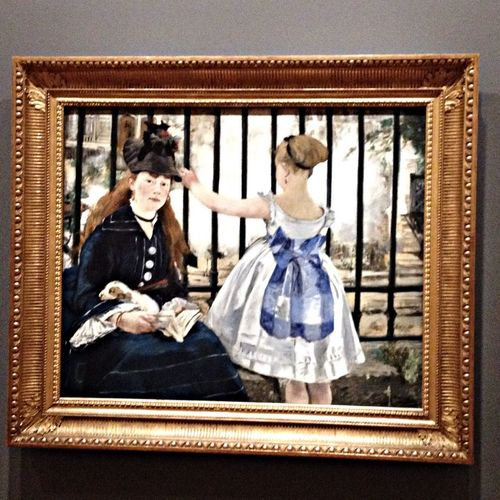 Visiting at Norton Simon Manet's The Railroad on loan from The National Gallery Of Art Oil On Canvas Getting Inspired Taking Photos Being Cultured Exhibition Night At The Museum Absorbing Learning