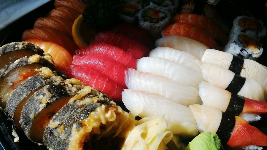Sushi Sashimi Platter Sashimi  Japanese Food Maki Sushi Tray Takeout Delicious Salmon Tuna Redsnapper Roll Tempura Food Freshness Fish Dish Dinner Sushi Party Seafood Jtown Japan