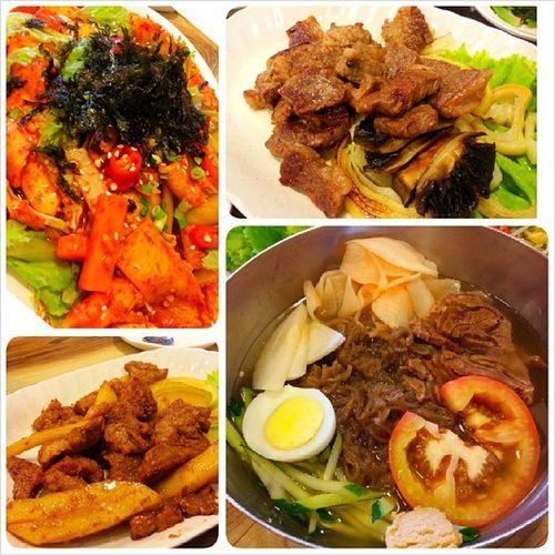 From left clockwise: spicy rice cakes, boneless beef short ribs, cold noodles & marinated pork ribs. Korean EatOut Yummy Fatdieme makanhunt food instafood instafoodies foodie fotd foodgram foodinc sgfood happytummy foodphotography openricesg burpple