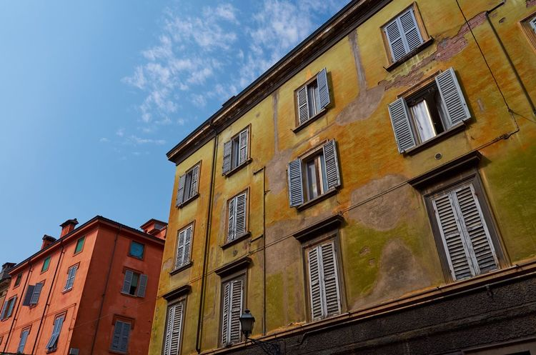 Modena, Italy Modena Italy Architecture Vivid Colorful Blue Sky Low Angle View Looking Up Historical Building Texture Textures And Surfaces Windows Façade Perspective Building Exterior Built Structure Residential Building No People City House