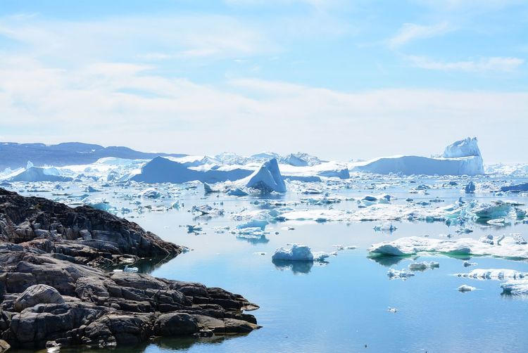Ilulissat, Greenland, July | UNESCO world heritage site | impressions of Jakobshavn | Disko Bay Kangia Icefjord | huge icebergs in the blue sea on a sunny day | climate change - global warming Beauty In Nature Nature Outdoors Icebergs Iceberg Greenland Climate Change Global Warming UNESCO World Heritage Site Arctic Melting Glacier Natural Beauty Cold Temperature Day Summer Tranquility Nordic Scenery Scenics - Nature No People Water Ice Beautiful Silent Landscape Landscape