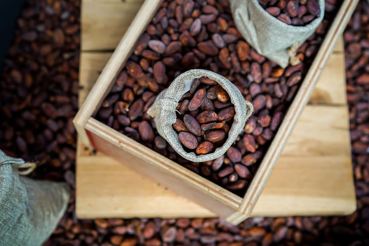 High angle view of coffee beans in box