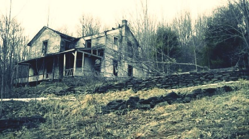 Abandoned, haunted house, spooky Rotting Bad Condition Built Structure Run-down Damaged Farmhouse Building Exterior Low Angle View Dark Photography Black And White The Way Forward The Week On EyeEm