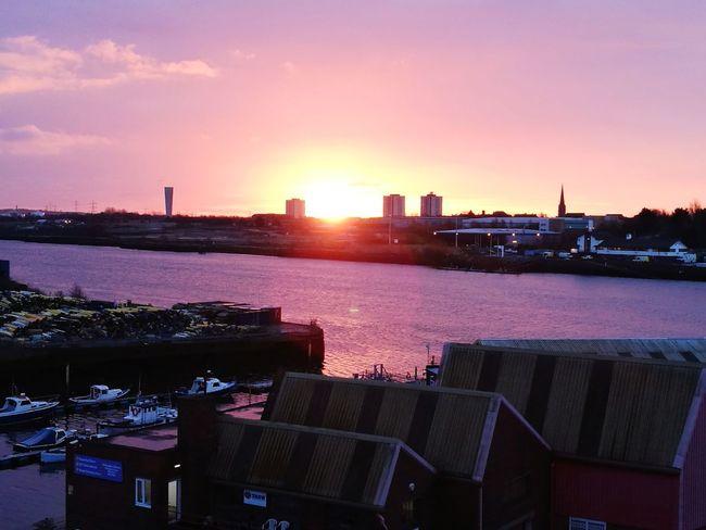sunrise on the Tyne Sunrise Urban Skyline City Cityscape Purple Sky No People