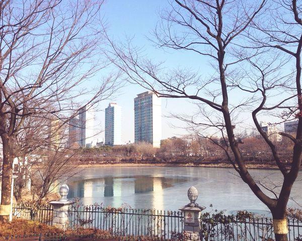 Half frozen lake Seoul Korea LOTTEWORLD Winter Frozen