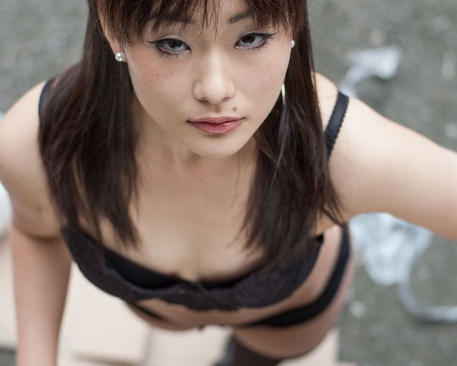 High Angle Portrait Of Sensual Woman