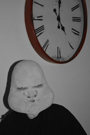 It's always 5:00 somewhere for someone. Costume Halloween Costumes Halloween Eerie 5 O'clock 5:00 Time Mask Clock Clock Face Time Men Close-up Wall Clock Instrument Of Time Shaved Head Roman Numeral