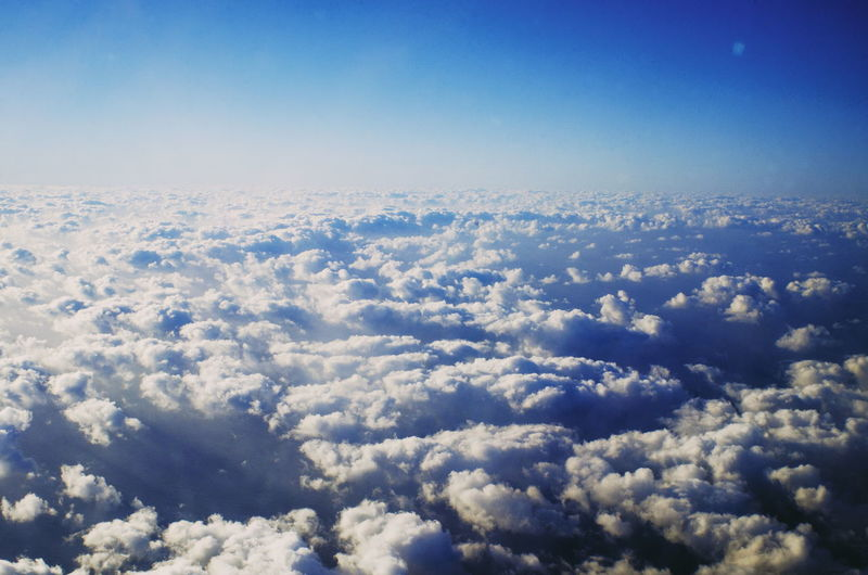 Blue Cold Temperature Backgrounds Aerial View Textured  Winter Sky Landscape Sky Only Cumulus Cloudscape Infinity Fluffy Heaven Meteorology Stratosphere