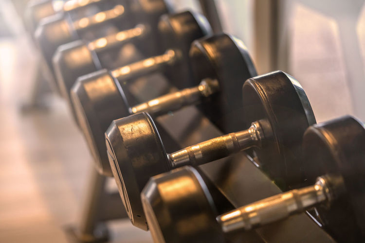 Close-up of dumbbells in row at gym