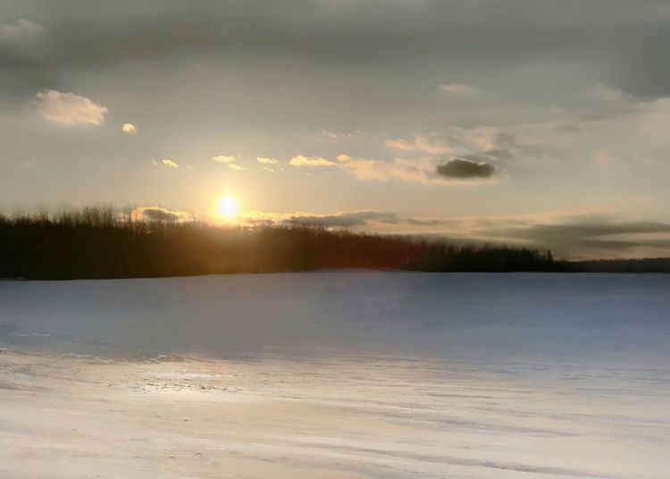 Snow covered field at sunset. Horizontal Sunset Snow Covered Beauty In Nature Nature Scenics Sunset Tranquil Scene Tranquility Sky Cold Temperature Winter Snow Frozen Landscape Outdoors Cloud - Sky Shades Of Winter
