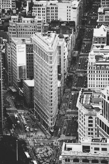 Aerial view of cityscape and flat iron inn new york city