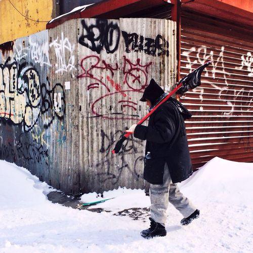 Winter Snow Shoveling Streetphotography