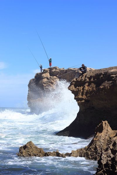 Berber People Fishing Rock - Object Sea Scenics Beauty In Nature Day Clear Sky Outdoors Nature Water Ocean Adventure Real People Motion Travel Photography Fishing Africa Morocco Horizon Over Water Leisure Activity From My Point Of View Nature On Your Doorstep EyeEmNewHere