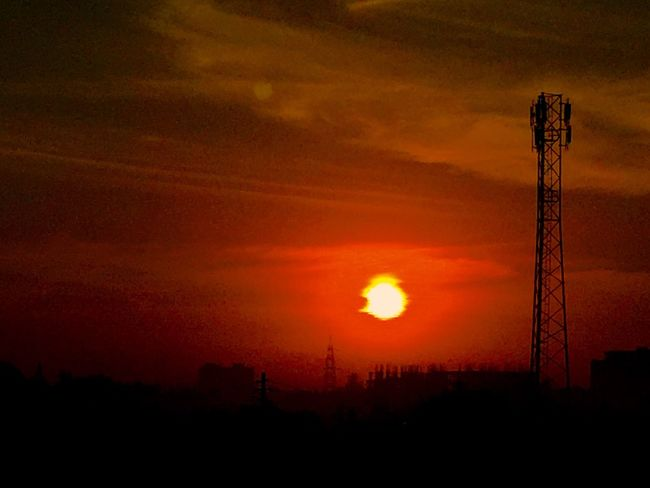 Sunset Nature Silhouette Sky No People Beauty In Nature Electricity  Field Tranquil Scene Outdoors Technology Scenics Tranquility Electricity Pylon Tree