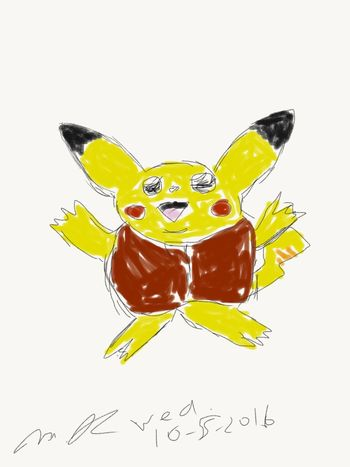 So tried to do a Pikachu, then somehow it morphed into this Laughing Buddha thing..yeah.. Pokémon Pocket Monsters Pikachu Laughing Buddha Drawing Adobesketch