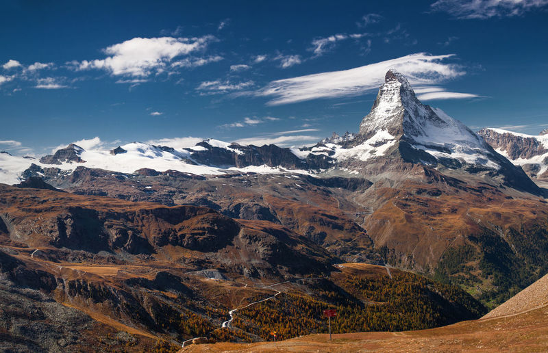 Swiss Alps in autumn. Alps Cloud - Sky Europe Landscape Matterhorn  Mountain Mountain Peak Mountain Range Nature No People Outdoors Snow Swiss Alps Switzerland Travel Travel Destinations