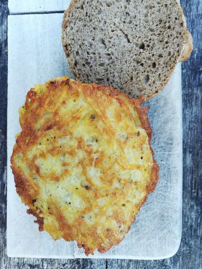 Puffer from potatoes Rosti Potatoes Puffer Kartoffelplätzchen Kartoffelpuffer  Table Close-up Food And Drink Bread Brown Bread