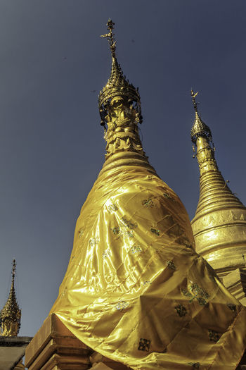 Mandalay Hill Golden Mandalay Mandalay Hill Spiritually Stupa Towl Architecture Burma Day Gold Colored Golden Low Angle View Myanmar Religion Temple