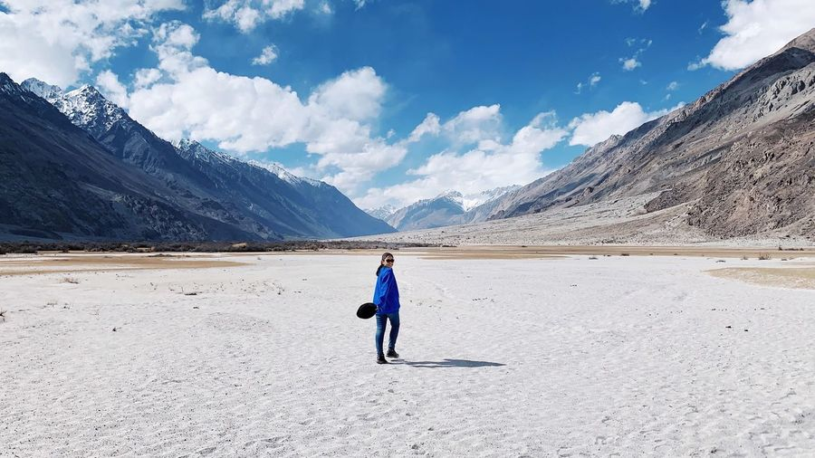 warm cold day Blue Sky And Clouds Woman In Nature IPhoneXR Keep Walking Lost in the Landscape Leh Ladakh Travel Photography Himalayas Destination Traveling Asian  Leh India Nubra Valley Scenics - Nature Mountain One Person Environment Scenics - Nature Sky Cloud - Sky Beauty In Nature Landscape Tranquil Scene Travel Destinations Climate Mountain Range Lifestyles