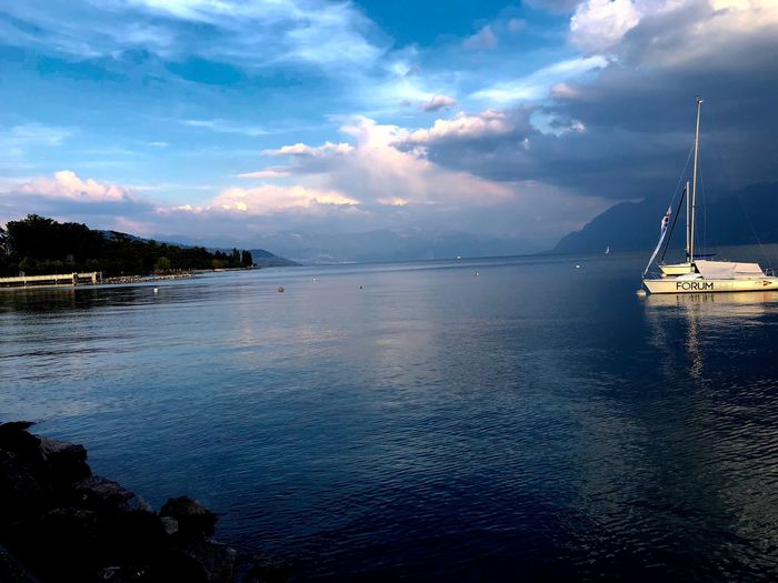 Lifebythelake MyLausanne Lausanne Sky Water Cloud - Sky Sea Beauty In Nature Scenics - Nature Nautical Vessel Tranquil Scene Tranquility Travel Sailboat Nature