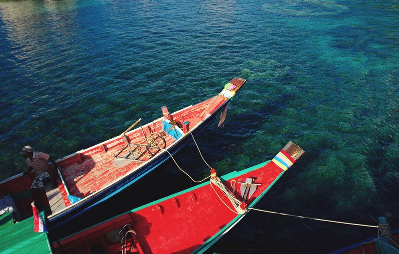 High angle view of fishing boats on sea