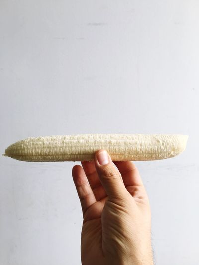 The straightest banana Fruit Banana EyeEm Selects Human Hand Food And Drink Food Human Body Part Holding One Person Healthy Eating White Background