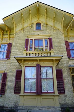 Old yellow house Window Architecture Building Exterior Built Structure Low Angle View Day Façade No People Outdoors Sky