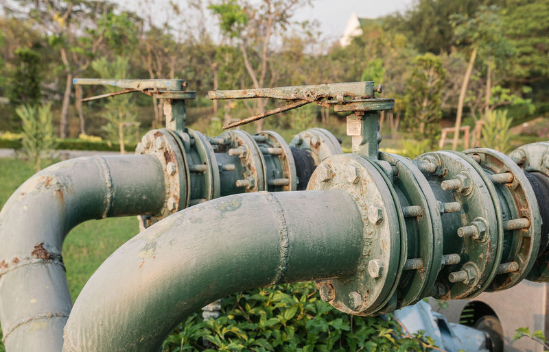 Close-up of water pipes against trees