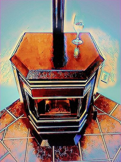 Warmth from the inside out! No People Indoors  Close-up Day Investing In Quality Of Life Night Outdoors Multi Colored Painted Image Illuminated Portland, OR Arts Culture And Entertainment Full Frame Artistic Photo Artistic Photography Watercolor Painting Paint Wine Fireplace Woodstove