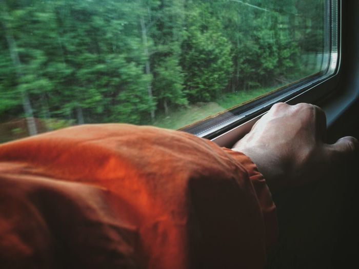 Cropped Hand By Window In Train