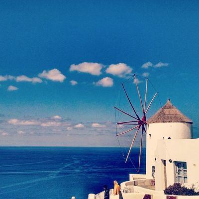 Where the blue is very blue Santorini Windmill Island Greece Bluesky Bluesea Insta_europe Instagreece Ig_greece