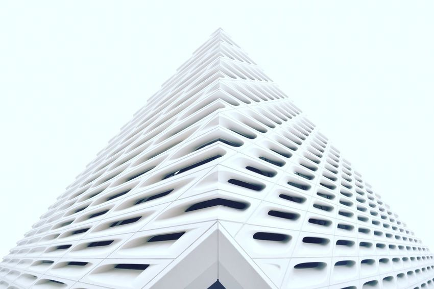 Los Angeles, California The Broad Museum Architecture Art Building Exterior Built Structure City Clear Sky Day Design Low Angle View Modern No People Outdoors Sky Skyscraper Tall The Broad Travel Destinations The Architect - 2018 EyeEm Awards