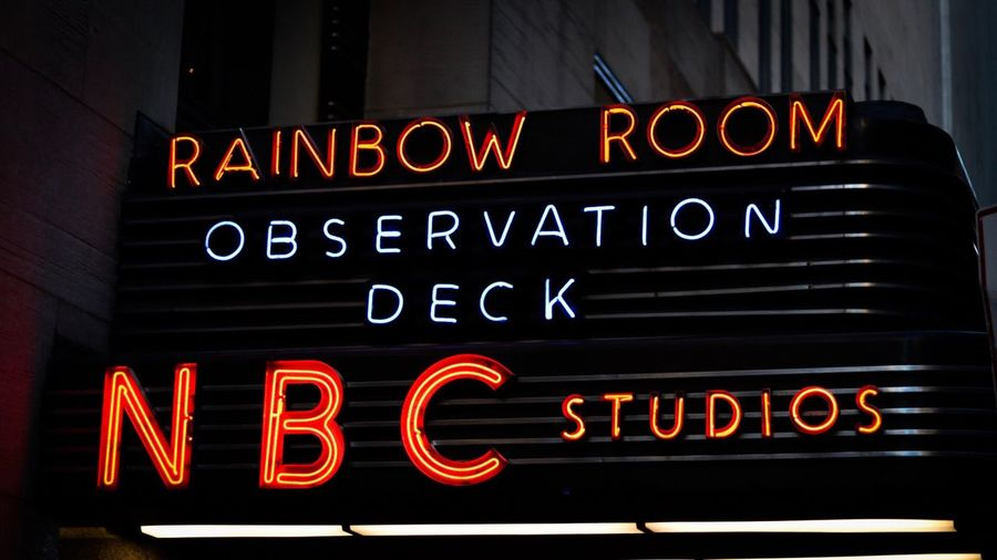 Text Neon Illuminated City Communication Night Travel Destinations No People Close-up Traffic Lights NYC Photography New York City Radio City Music Hall Architecture Building Exterior Text Rainbow Room Nbc Observation Deck