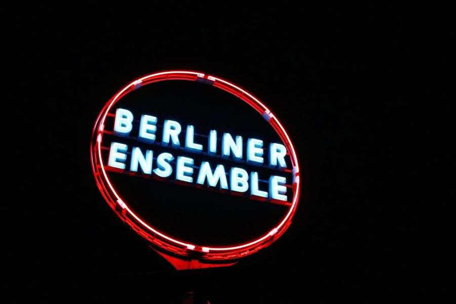 Berlin Berliner Ensemble Black Color Circle Dark Farbe Information Nacht Night No People Outdoors Red Reklame Text Theater
