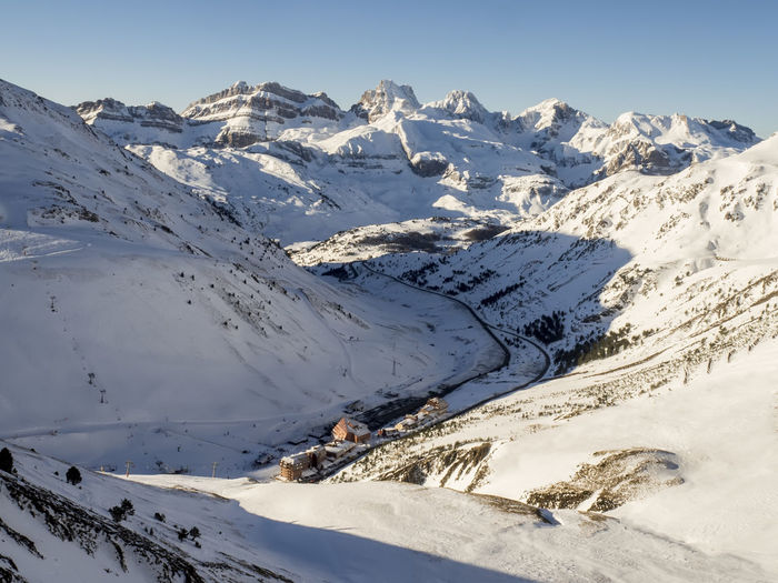 view of the spanish ski resort of Astun y Candanchu in the Pyrenees with snowy mountain range Astun Beauty In Nature Candanchu Cold Temperature Huesca Jaca Mountain Nature No People Pyrenees Scenics Ski Resort  Sky Snow Snowcapped Mountain SPAIN Tranquil Scene Tranquility Winter Winter
