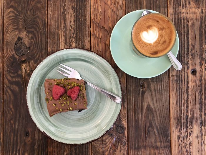 Coffee and Cake Coffee - Drink Directly Above Food Food And Drink Still Life Table Wood - Material