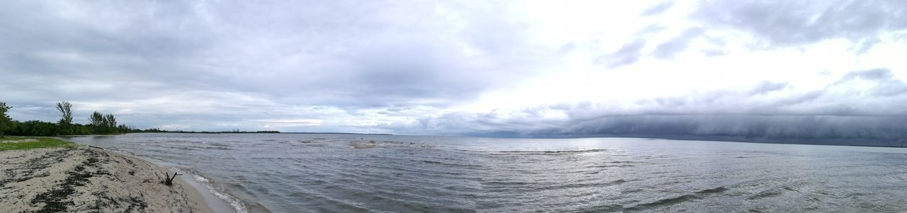 Panoramic View Beach Beauty In Nature Cloud - Sky Day Nature No People Outdoors Panoramic Photography Power In Nature Scenics Sea Sky Water Wave