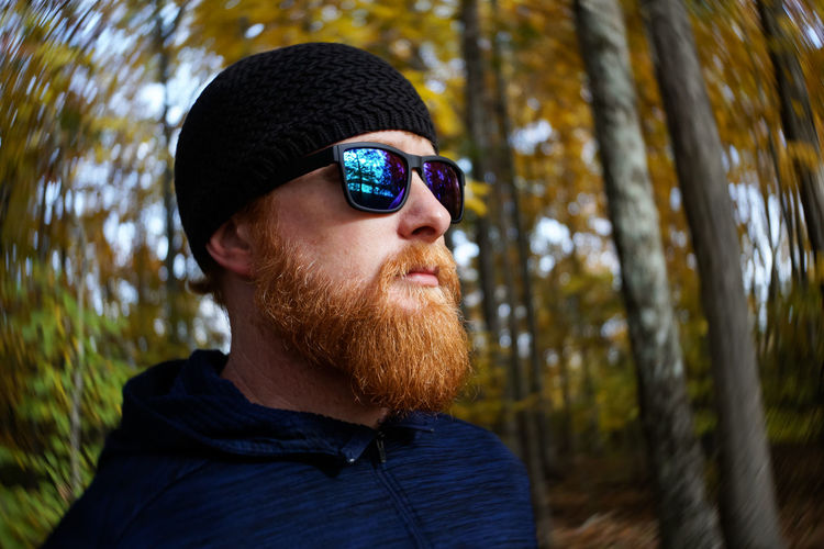 Red-headed Bearded Man On Nature Hike In Autumn Headshot One Person Portrait Tree Sunglasses Real People Beard Glasses Facial Hair Focus On Foreground Lifestyles Close-up Nature Outdoors Human Face Warm Clothing Autumn Autumn colors Autumn Leaves Fall Colors Fall Collection Lensbaby  Nature Walk Hiking Hike