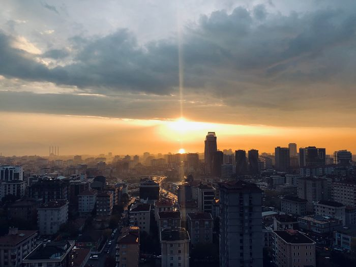🏙 Yellow Orange Color Clear Sky Cityscape Shining Beautiful Colors Istanbul Turkey IPhoneography ShotOnIphone Building Exterior Architecture Sky Built Structure City Building Cloud - Sky Sunset Cityscape No People Sunlight Residential District Nature Tower Skyscraper Tall - High Outdoors