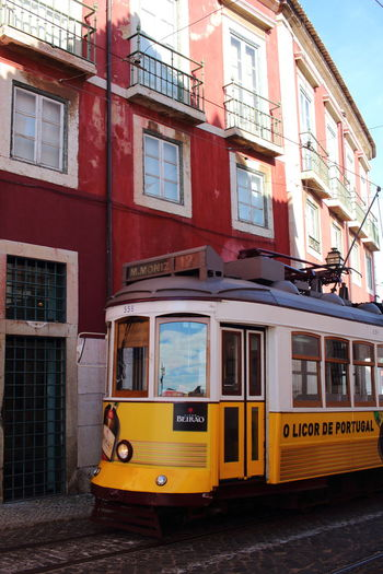 Tram 28E In Lisbon Portugal Lissabon, Portugal Lisbon - Portugal Lisboa Portugal EyeEm City Lover Architecture Building Exterior Built Structure Mode Of Transportation City Transportation Public Transportation Yellow Cable Car Rail Transportation Land Vehicle Building Day Window Street No People Railroad Track Travel Outdoors