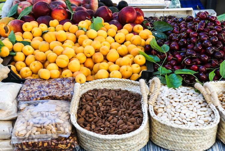 Fruit and nut for sale at market stall