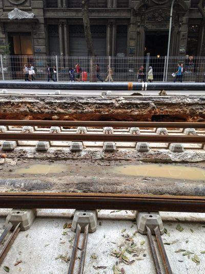 Obras do Vlt Veículo Leve Sobre Trilhos Avenida Rio Branco Under Construction... Rio De Janeiro