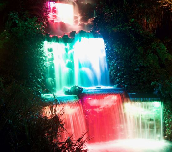 Light Waterfall Illuminated Nature Close-up People Outdoors Sky Multi Colored New Zealand Pukekura Park New Plymouth Waterfall One Person Night