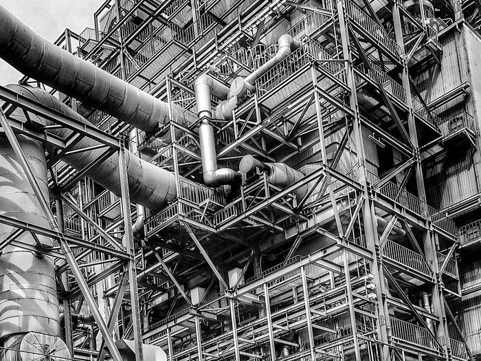 Monochrome Power Station Industrial Landscapes Industrial Industry Scafolding Construction Site No People Full Frame Pattern Day Backgrounds Low Angle View Outdoors Built Structure Industry Close-up Metal Plant Sunlight Abundance Architecture Repetition Ceiling Hanging