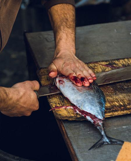 High angle view of man preparing fish