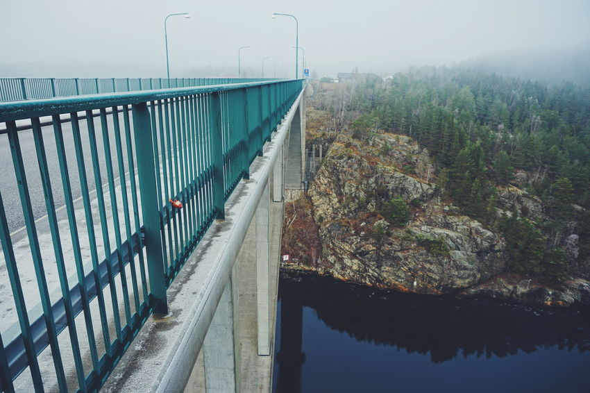 The old Svinesund bridge Water Nature Outdoors Tree Day Beauty In Nature Bridge - Man Made Structure No People Sky Ringdalsfjorden Fjordsofnorway Tranquility Norway Svinesund Svinesund Bru Frost Cold Weather Landscape Scenics Sweden Nature Fog Beauty In Nature Bridge Winter Border