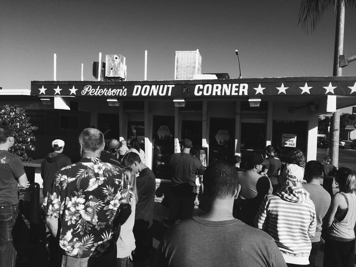 Donuts Save The World San Diego Streetphotography Blackandwhite Waiting for Donuts Vscocam
